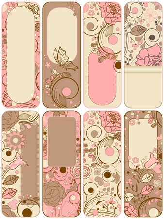 pink banner: Retro floral banners collection
