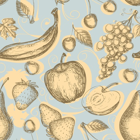 old kitchen: Vintage fruits seamless pattern  Illustration