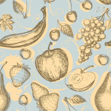 repeat: Vintage fruits seamless pattern  Illustration