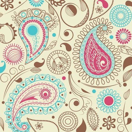 turquoise swirl: Retro paisley pattern