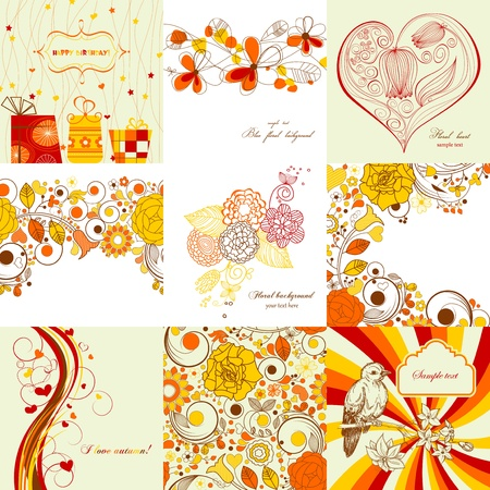 autumn flowers: Vector set of greeting cards in autumn colors  Illustration