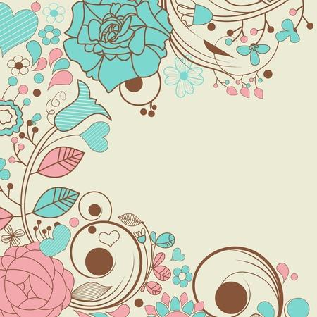 アクアマリン: ベクターの花のフレーム