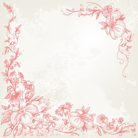 linework: Vintage floral frame Illustration
