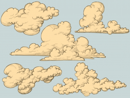 cloud clipart: Nubes Vintage