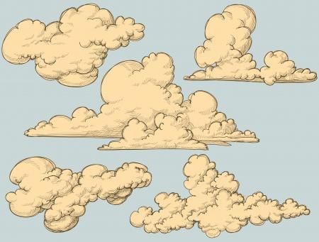 clouds clipart: Vintage clouds