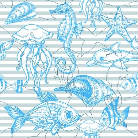 jellyfish: Sea seamless pattern