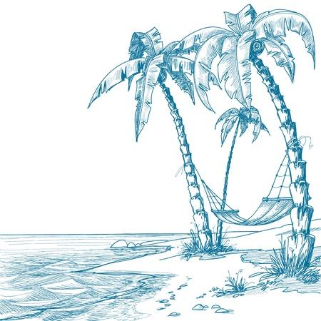 hammocks: Spiaggia tropicale con palme e amaca Vettoriali