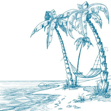 tree sketch: Tropical beach with palm trees and hammock