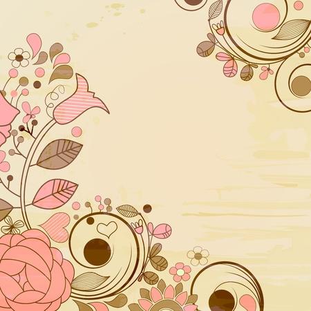 Old paper page, floral decorations  Illustration