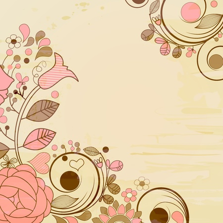 Old paper page, floral decorations  Vector