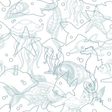 snails: Sea life seamless pattern  Illustration
