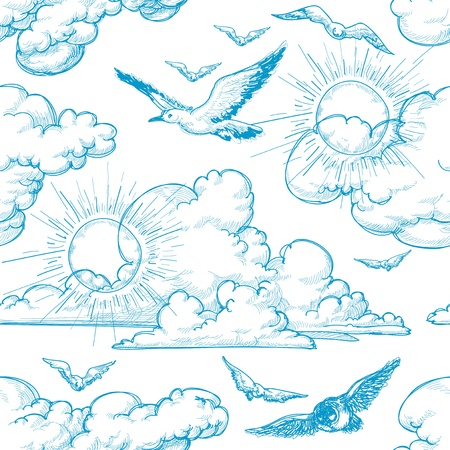 Sky seamless pattern Vector