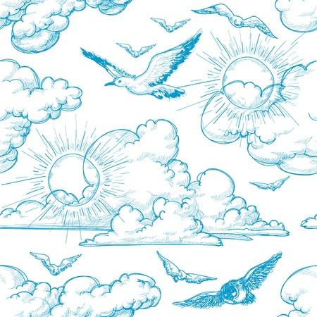 outline blue: Sky seamless pattern