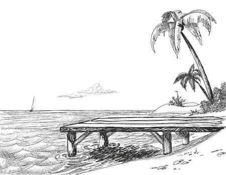 해변, 바다와 나무 부두 일러스트