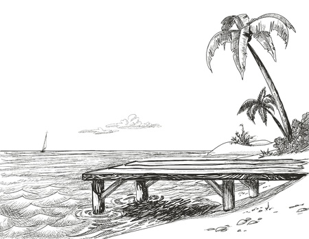 pier: Beach, sea and wooden jetty