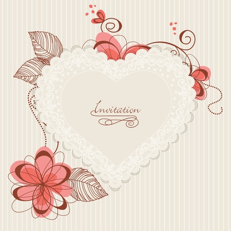 wedding frame: Lace floral heart. Design for romantic invitations or announcements  Illustration