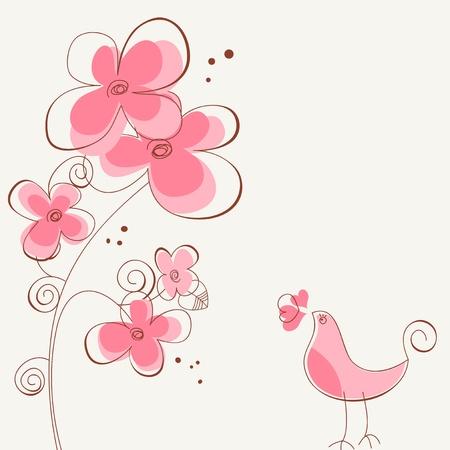m�rchen: Blumen und Vogel Liebesgeschichte Illustration