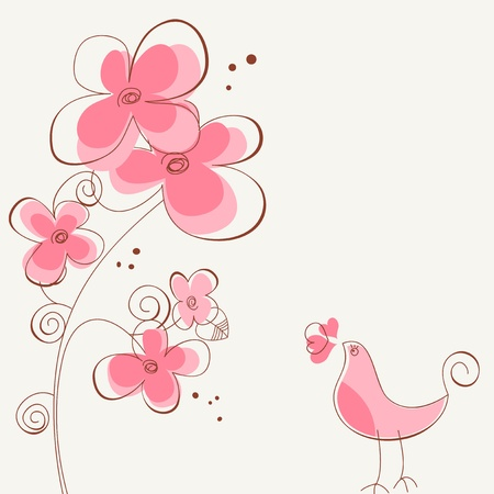 lovely: Flowers and bird love story Illustration
