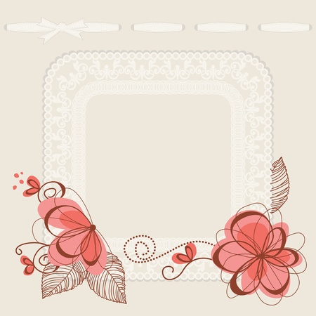 flower border pink: Floral invitation card, lace frame for text or photo