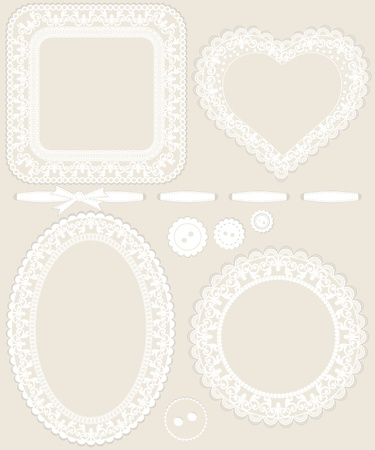 retro lace: Lace frames and other design elements for invitations, scrap books, announcements