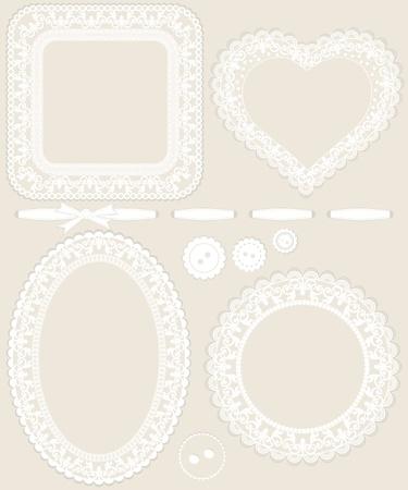ovalo: Marcos de encajes y otros elementos de dise�o para invitaciones, libros de chatarra, anuncios  Vectores