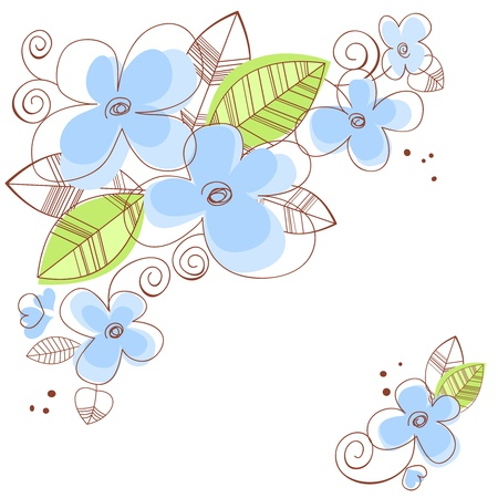 Blue floral frame Illustration