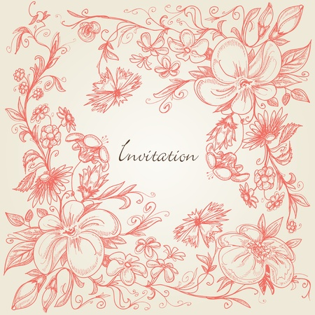 beautiful garden: Hand drawn floral frame  Illustration