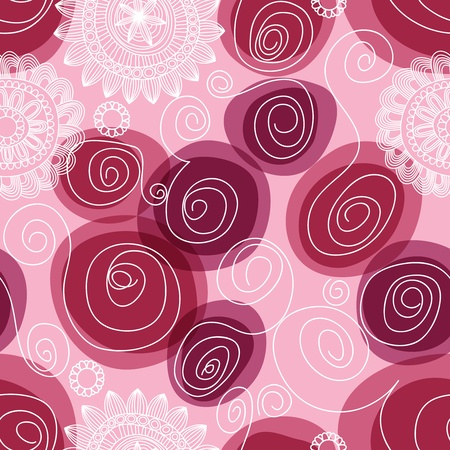 Flowers and swirls seamless pattern  Illustration
