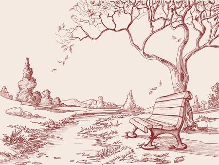 banc de parc: Automne parc Illustration
