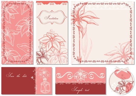 Retro floral backgrounds, lily theme  Vector