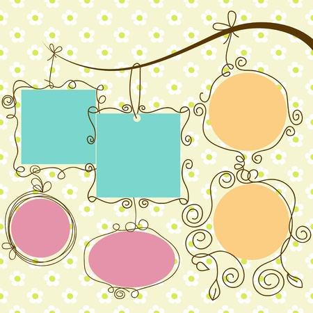 Cute frames hanging, retro style  Illustration