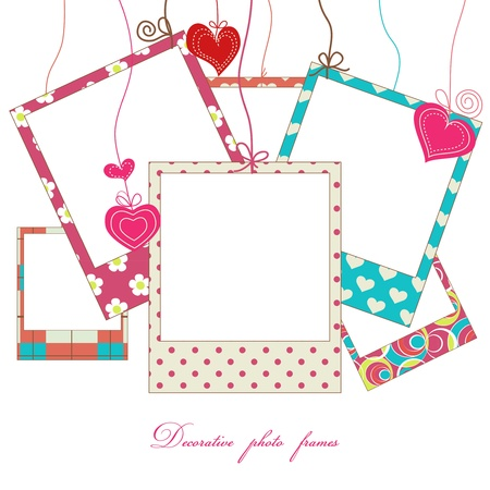 photo backdrop: Hanging cute photo frames  Illustration
