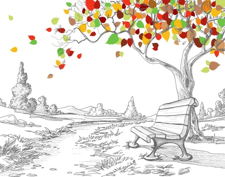 city park: Autumn tree, falling leaves  Illustration