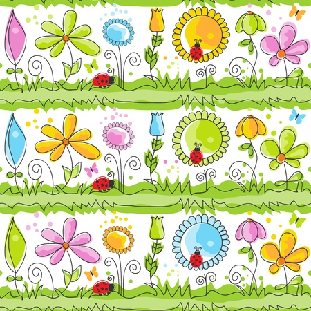 flores: Cartoon nature ornate seamless pattern