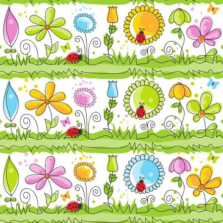 childlike: Cartoon nature ornate seamless pattern