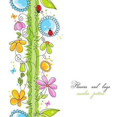 butterfly ladybird: Flores y bugs patr�n transparente de dibujos animados  Vectores