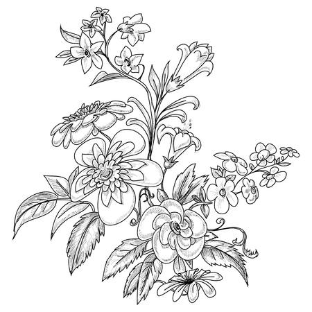daffodils: Graphic ornate flowers  Illustration
