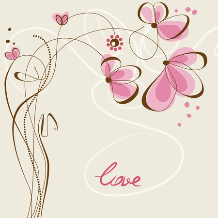 flores vintage: Love floral card  Illustration