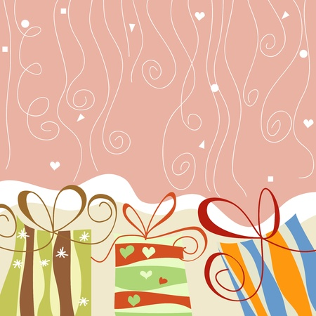 stripy: Gift boxes and confetti Christmas background Illustration