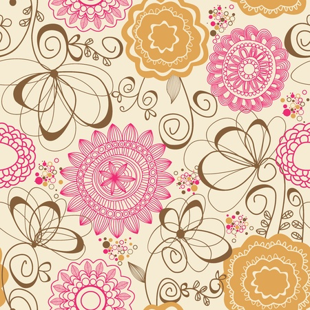 honeysuckle: Abstract flowers seamless pattern