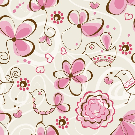 childlike: Birds garden seamless pattern Illustration