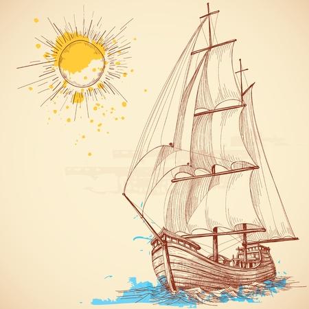 vecchia nave:  barca a vela Vettoriali