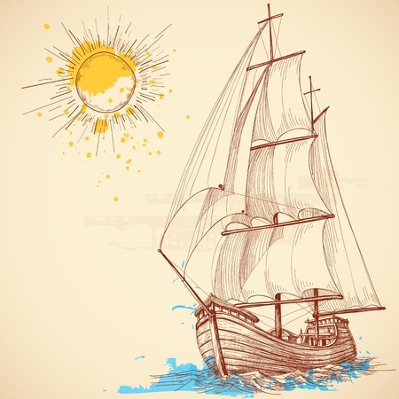 marine ship:  sailing boat Illustration