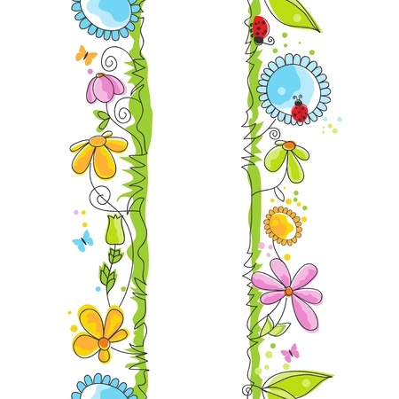 vertical garden: Cute floral borders Illustration