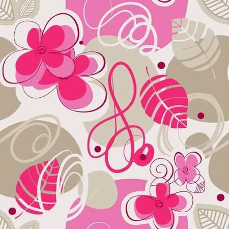 honeysuckle: Retro floral seamless background