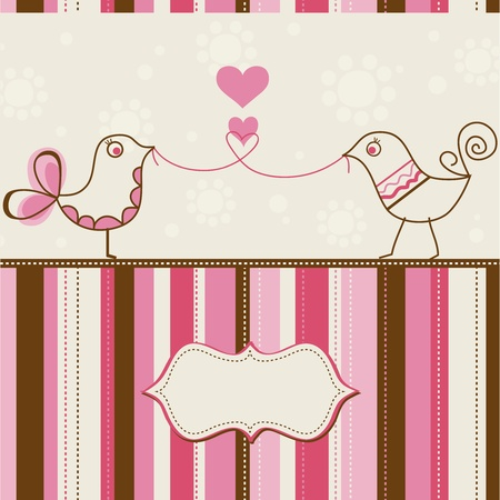 pink stripes: Birds love greeting card