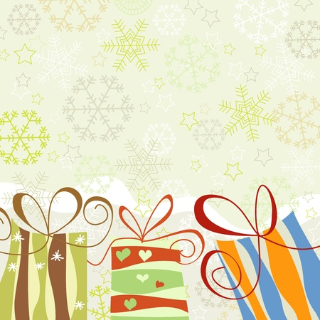 Christmas background, snowflakes and gift boxes  Illustration