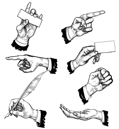 hand holding card: Vector handen