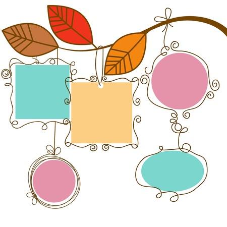 autumn leaf frame: Rama de �rbol cuelgan cuadros  Vectores