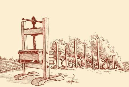 Vineyard and old wooden press vector illustration  Vector